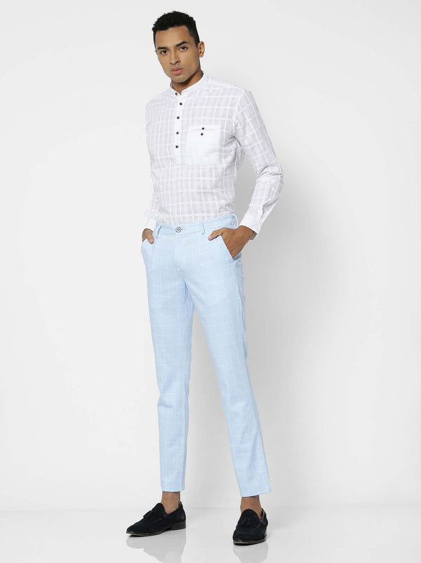 Blue  Checked 4-Way Stretch Lean Fit Trouser