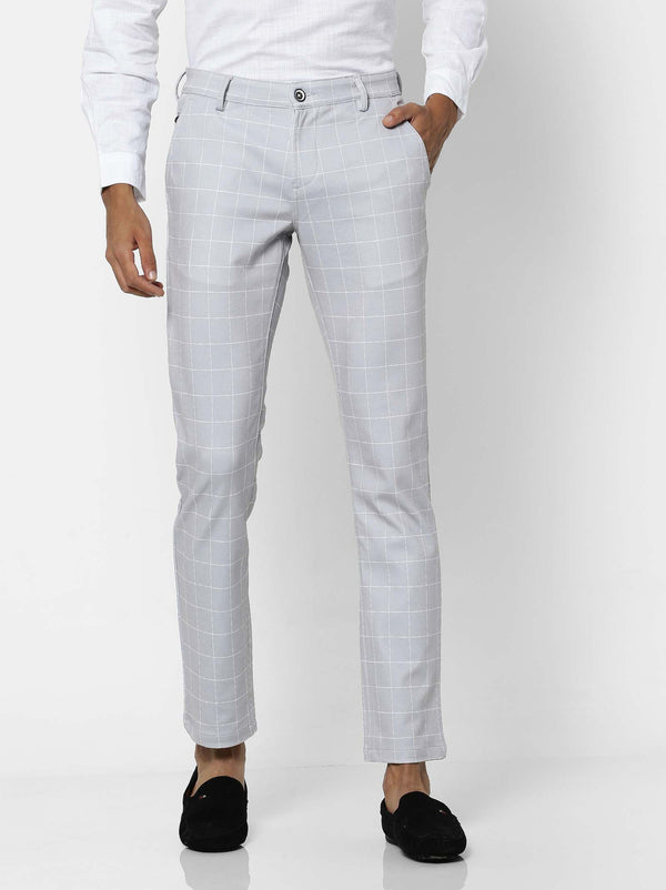 Grey  Checked 4-Way Stretch Lean Fit Trouser