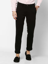 Black  Plain 4-Way Stretch Lean Fit Trouser