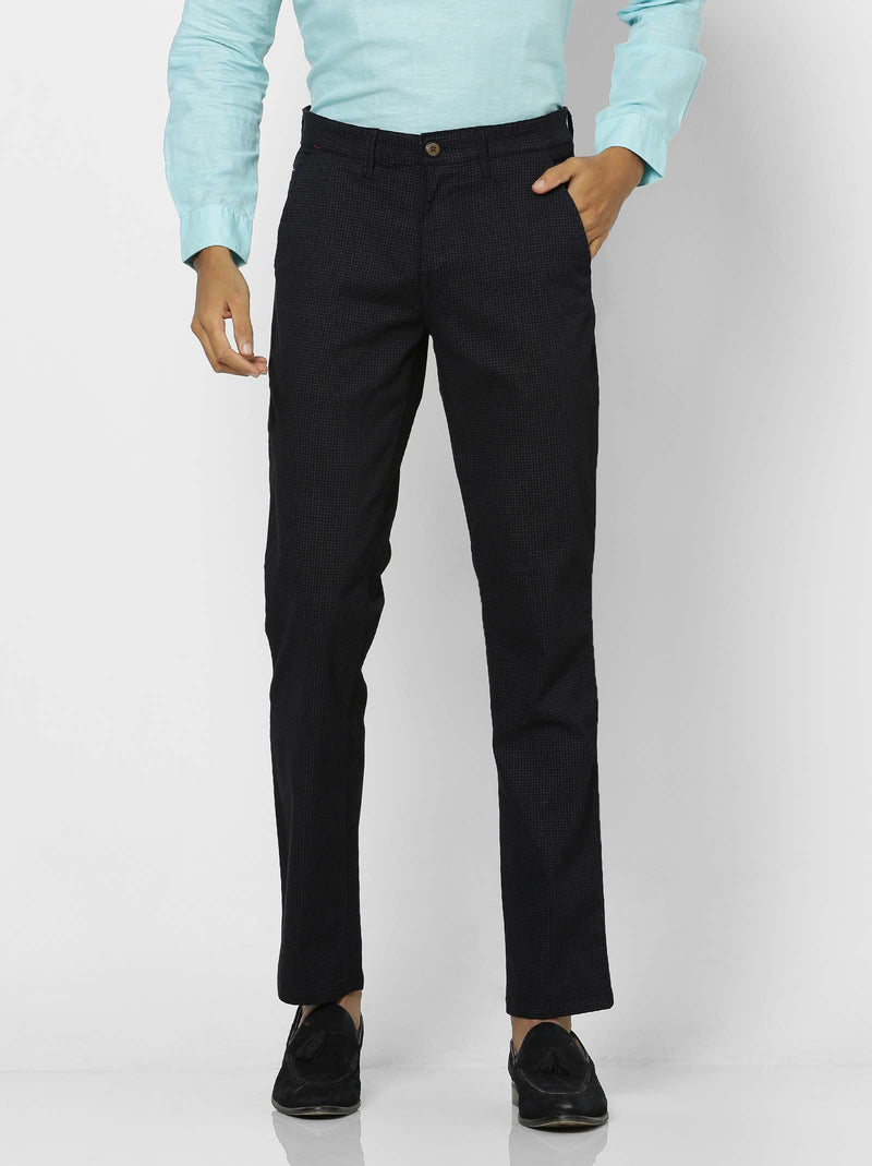 Navy  Checked Stretch Lean Fit Trouser