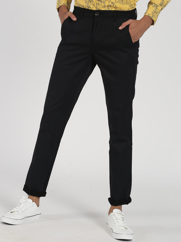 Black Printed Lean Fit Trouser
