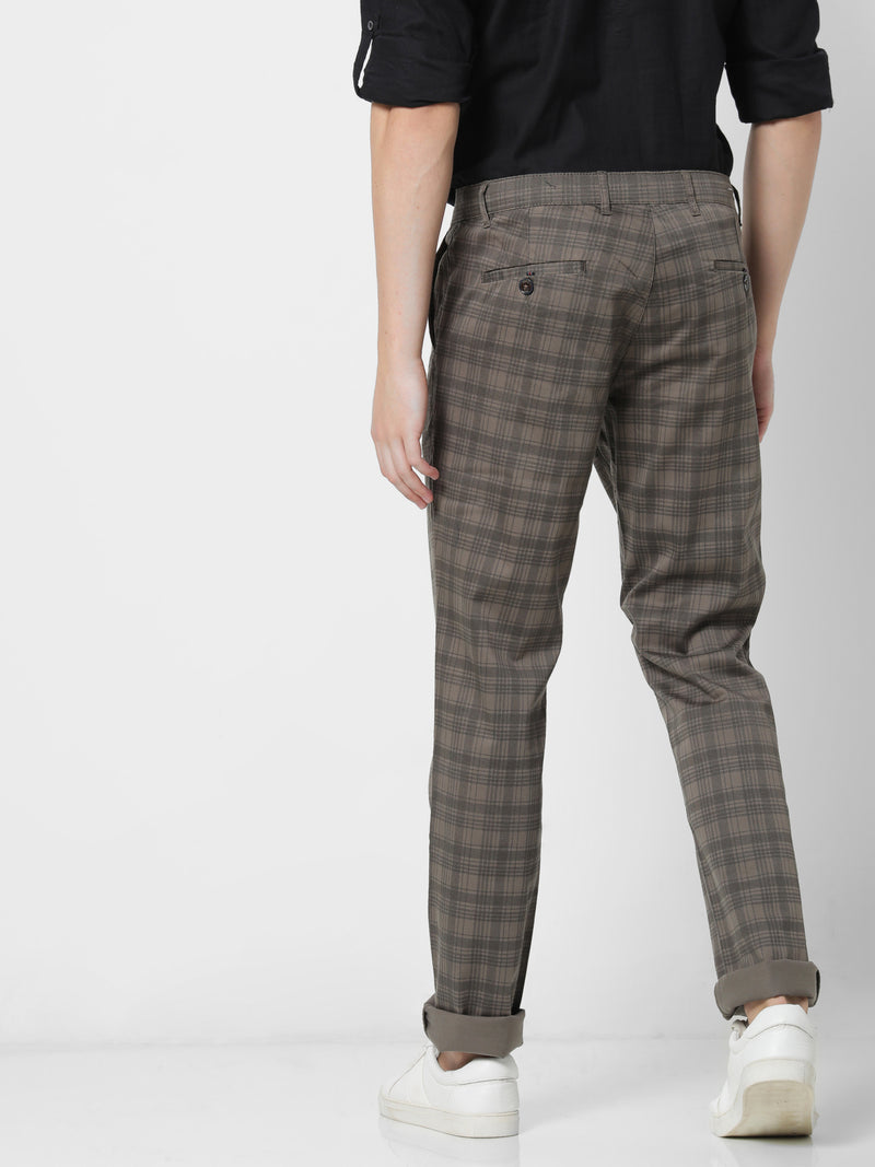 Green Printed Stretch Lean Fit Trouser
