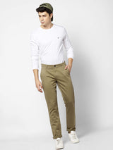 Khaki  Checked Stretch Lean Fit Trouser