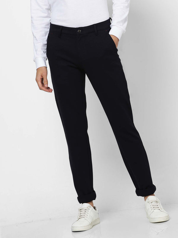 Navy  Plain 4-Way Stretch Lean Fit Trouser