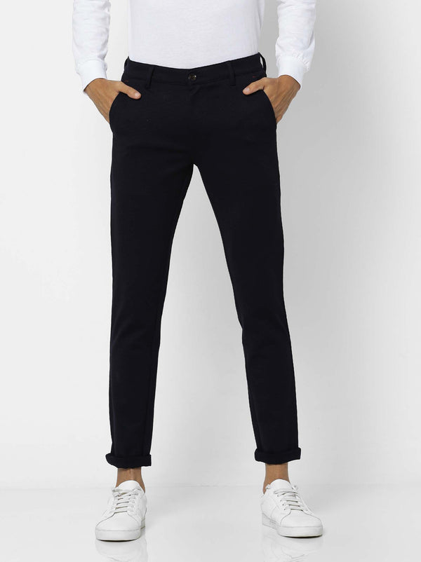 Navy  Plain 4-Way Stretch Ultra Slim Fit Trouser