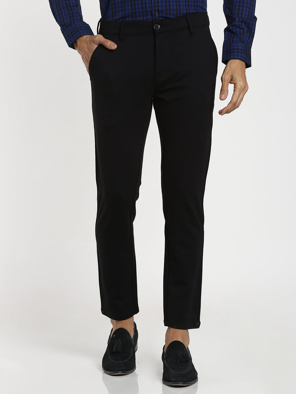 Black Printed 4-Way Stretch Trouser