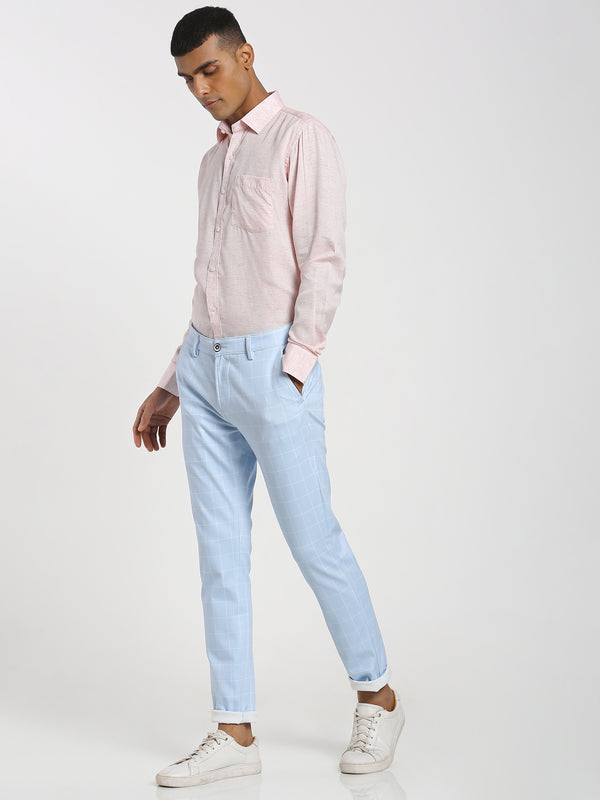 Sky Blue Checked 4-Way Stretch Trouser