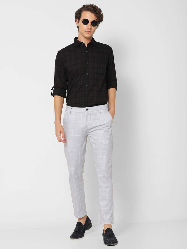 Grey  Checked 4-Way Stretch Ultra Slim Fit Trouser