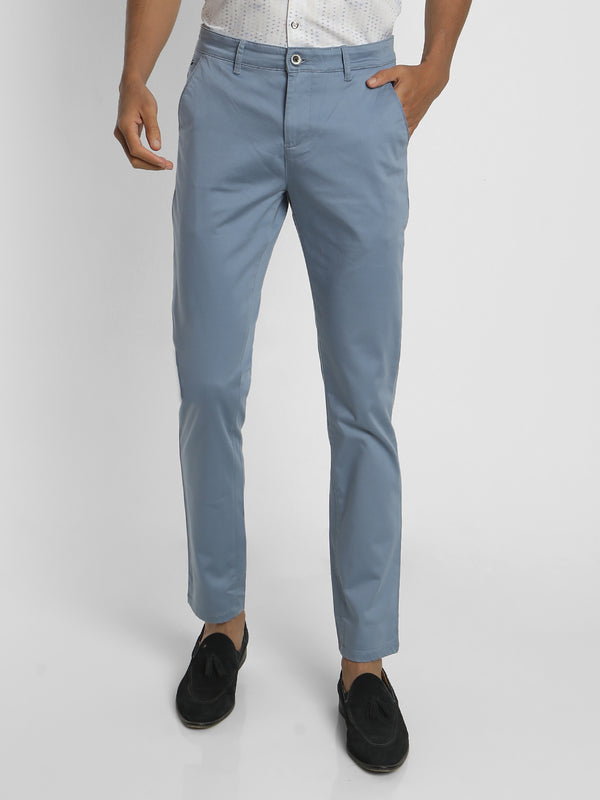 Blue Plain Stretch Trouser