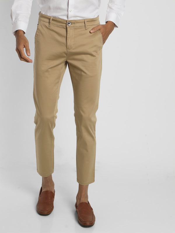Khaki Plain Stretch Trouser