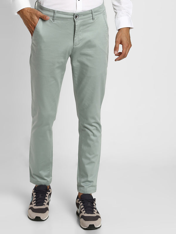 Green Plain Stretch Trouser