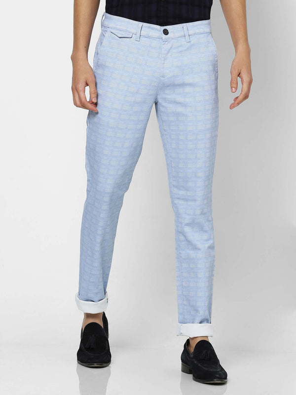 Blue  Checked Stretch Lean Fit Trouser