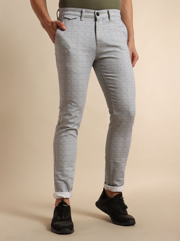 Grey Printed Stretch Trouser