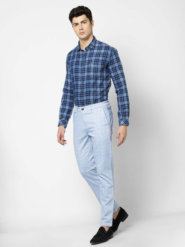 Blue  Checked Stretch Ultra Slim Fit Trouser