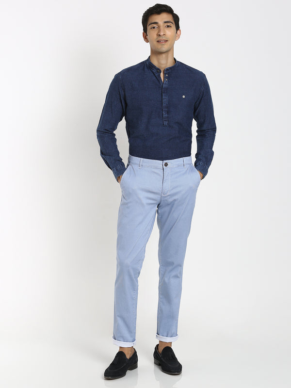 Blue Checked Stretch Trouser
