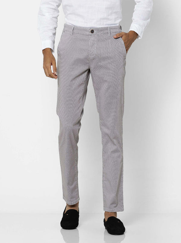 Brown  Checked Stretch Lean Fit Trouser