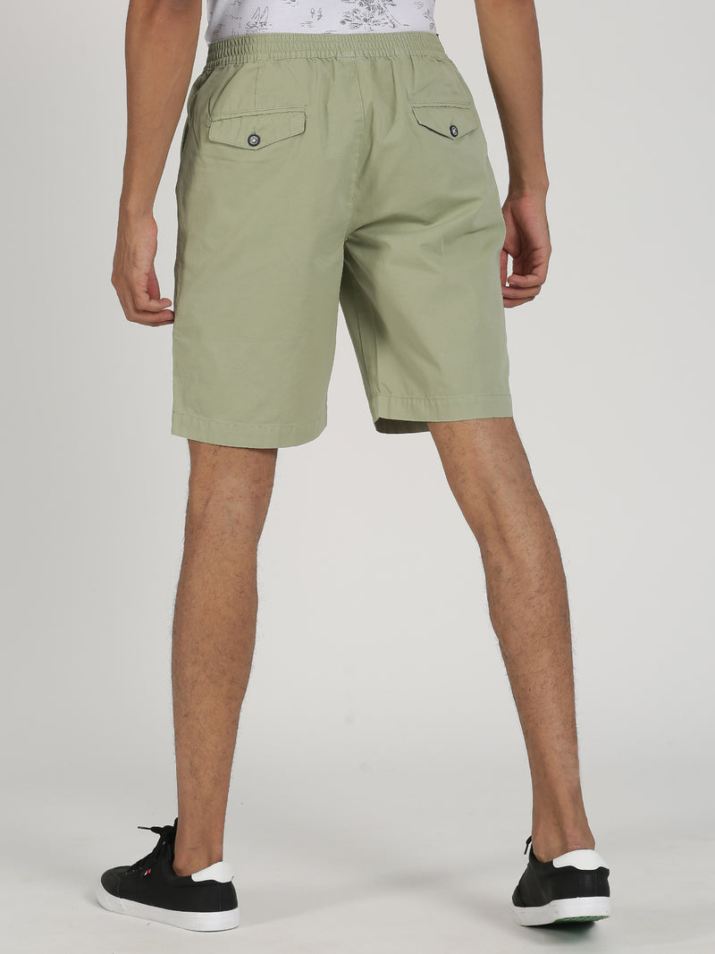 Olive Plain Casual Short