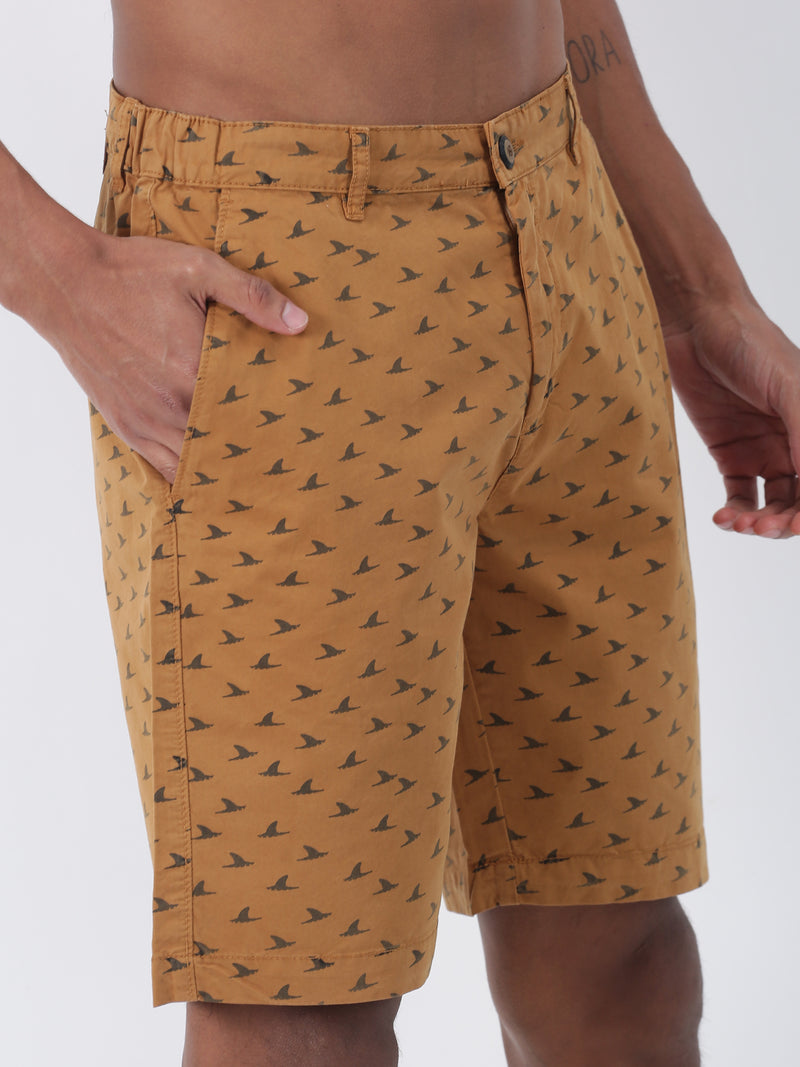Khaki Printed Casual Short