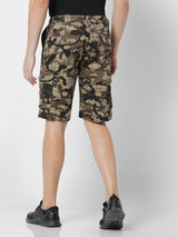 Brown Printed Stretch Cargo Shorts