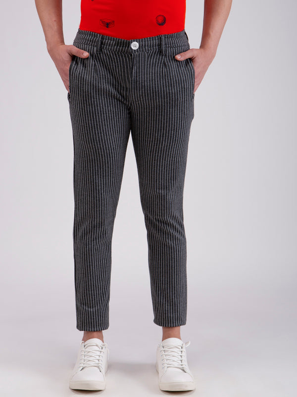 Grey Striped Stretch Trouser