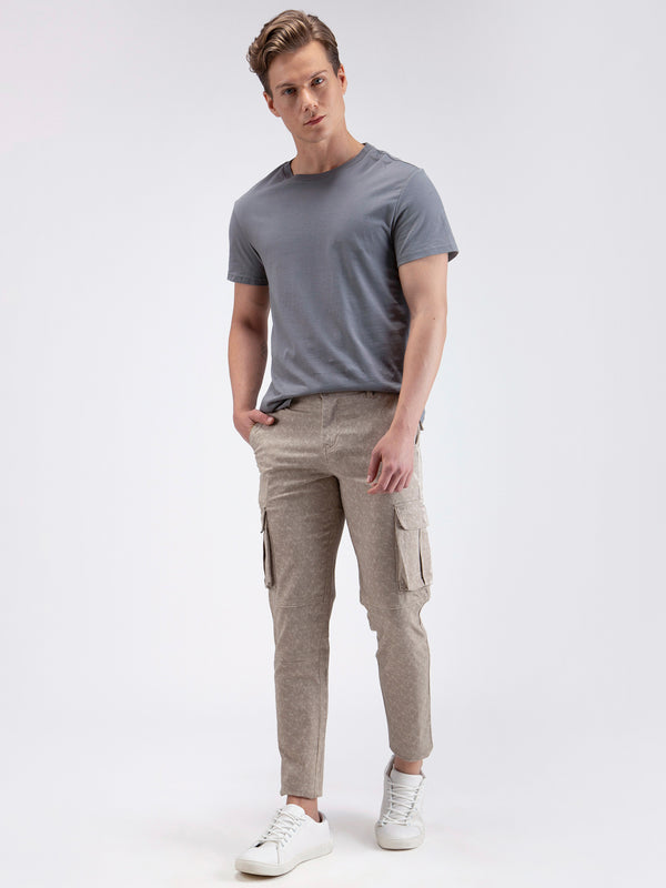 Cream Printed Stretch Cargo Trouser