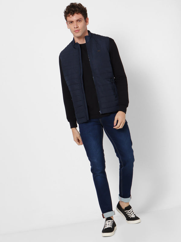 Navy Plain Quilted Jacket