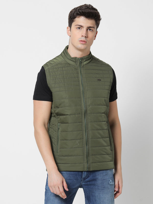 Olive Plain Quilted Jacket