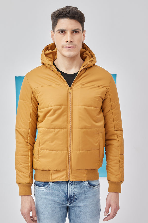 Yellow Plain Quilted Jacket