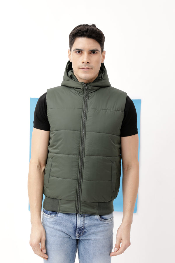 Green Plain Quilted Jacket