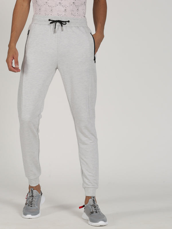 Light Ecru Melange Plain Casual Jogger