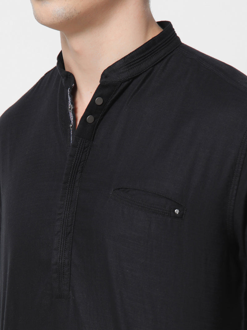 Black Plain Casual Kurta