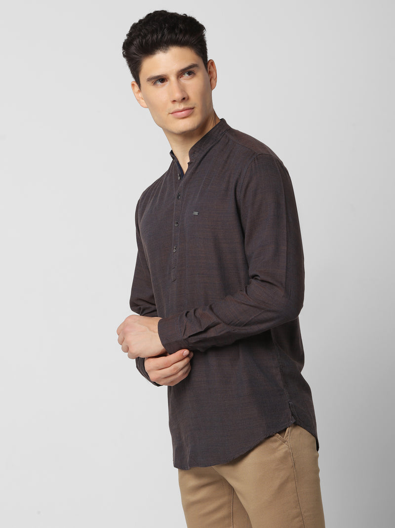 Brown Plain Casual Kurta