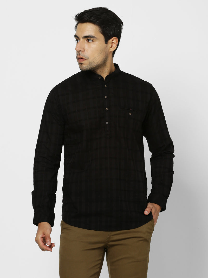 Black Checked Casual Kurta