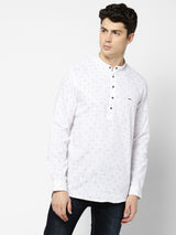 White Printed Casual Kurta