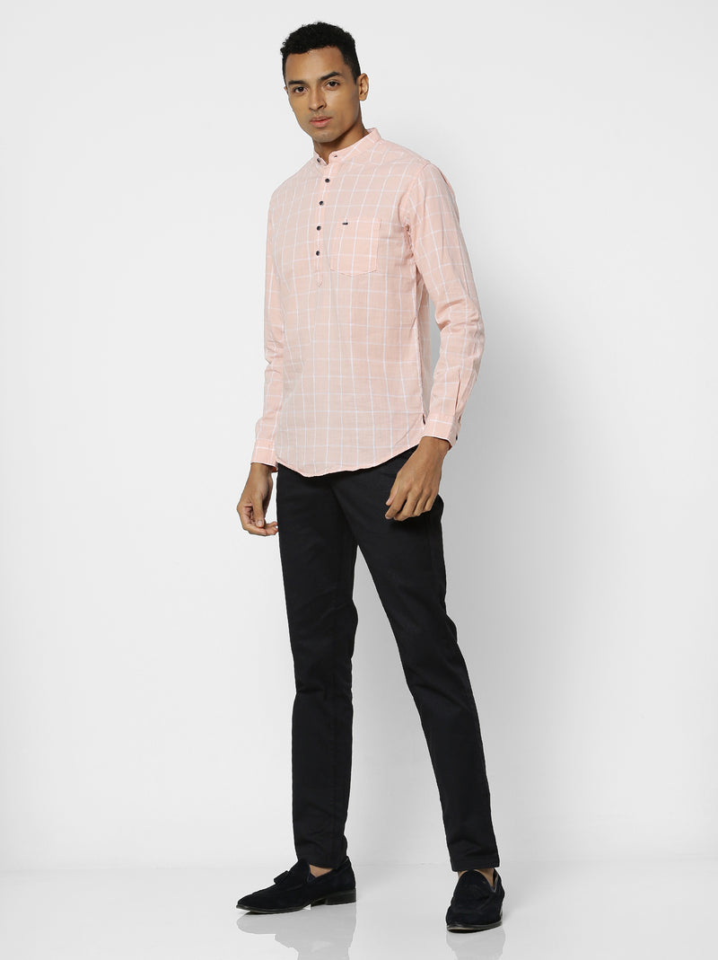 Pink Checked Casual Kurta