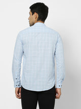Blue Checked Casual Kurta