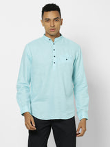 Blue Linen Plain Casual Kurta