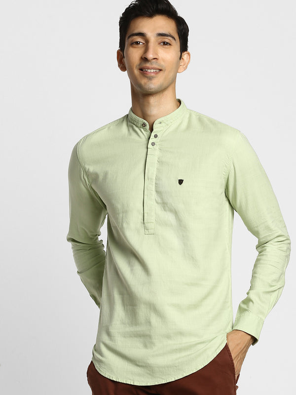 Aqua Green Plain Casual Kurta
