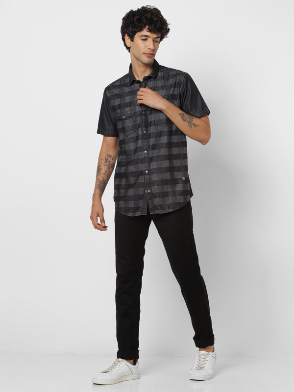 Black Denim Checked Casual Shirt