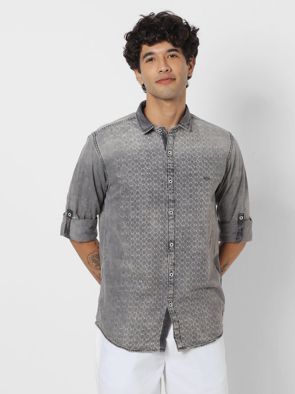 Grey Denim Printed Casual Shirt