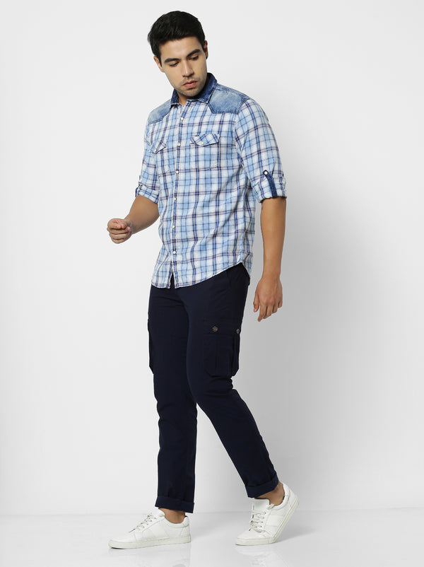 Multi Denim Checked Casual Shirt