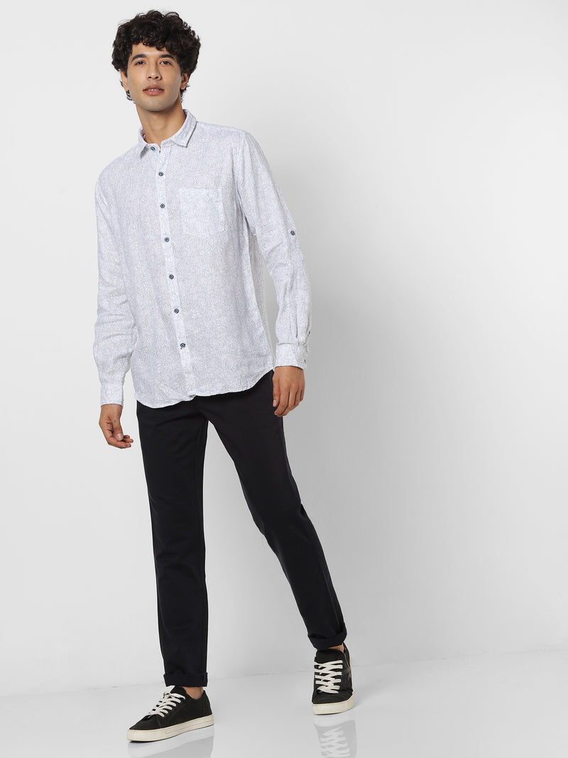 White Linen Printed Casual Shirt