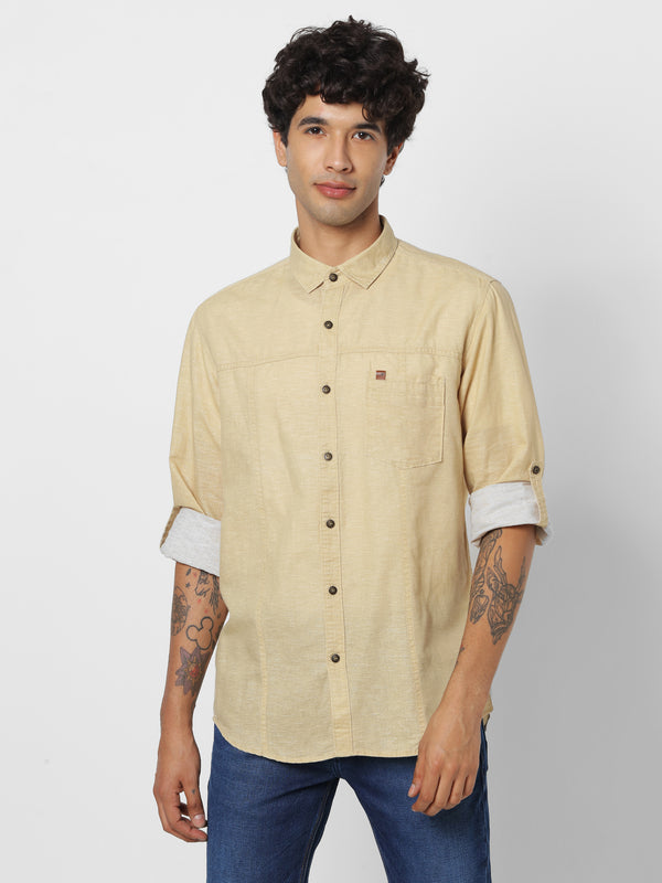 Khaki Denim Plain Casual Shirt