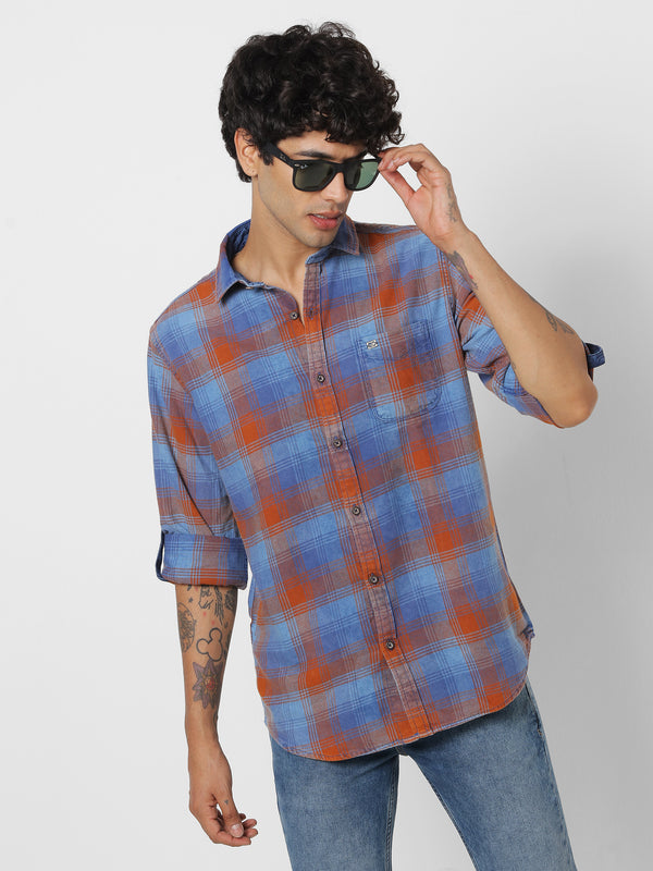 Orange Denim Checked Casual Shirt