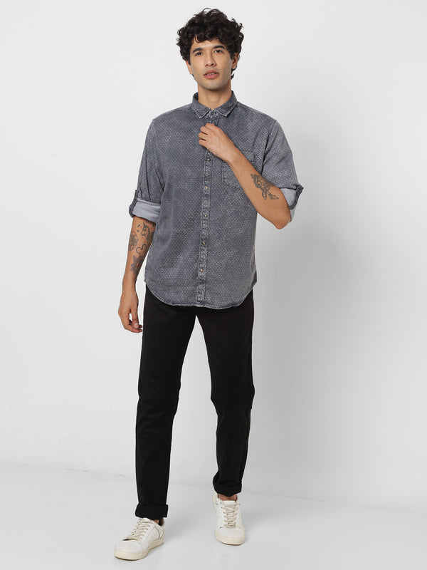 Grey Denim Printed Stretch Casual Shirt