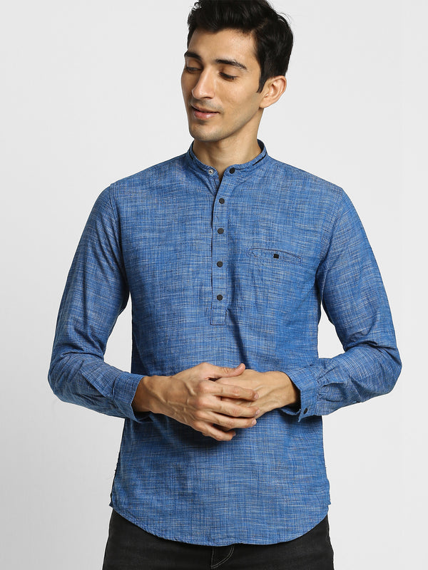 Blue Plain Casual Kurta