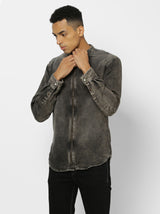 Black Denim Plain Stretch Casual Shirt