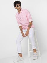 Pink Denim Plain Casual Shirt