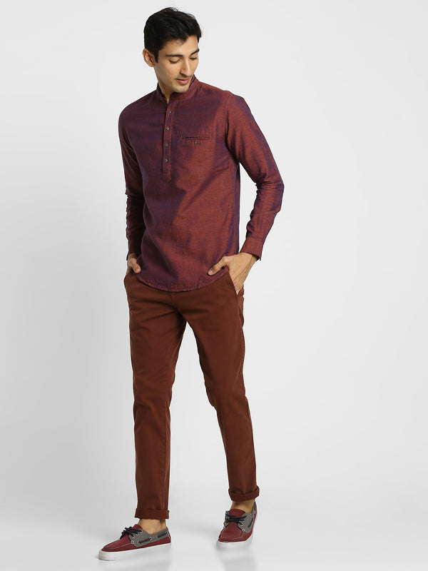 Red Plain Casual Linen Kurta