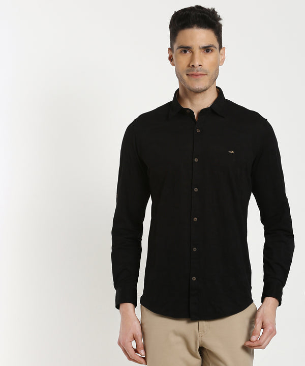 Black Jacquard Stretch Knitted Casual Shirt